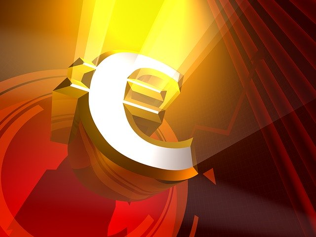 euro symbol, světlo, reflektory